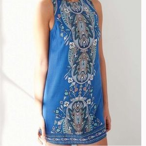 UO Ecote Guinevere Blue Backless Dress